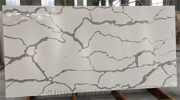 Carrara And Calacatta Marble Color White Veins Grey Quartz