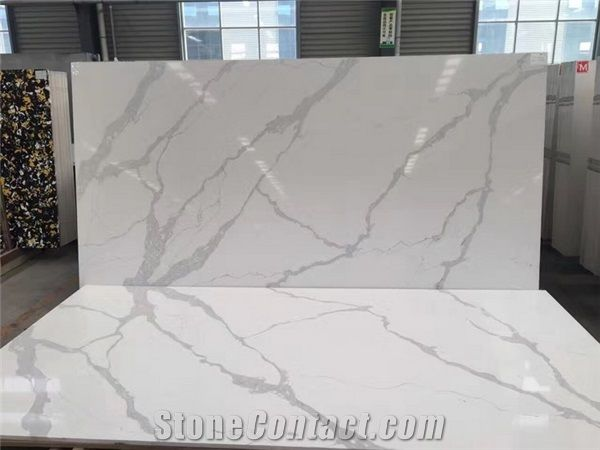 White Veins Grey Engineered Quartz Stone From China