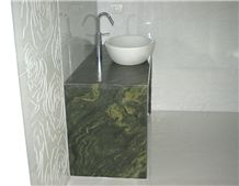 Verde Fantastico Quartzite Custom Vanity Top with Vessel Sink
