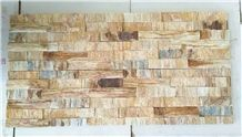Wooden Golden Stacked Stone Veneer, Yellow Travertine Cultured Stone