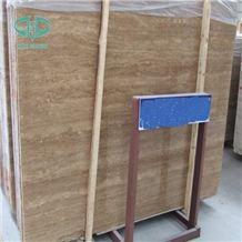 Beige Polished Travertine Slabs for Flooring Wall