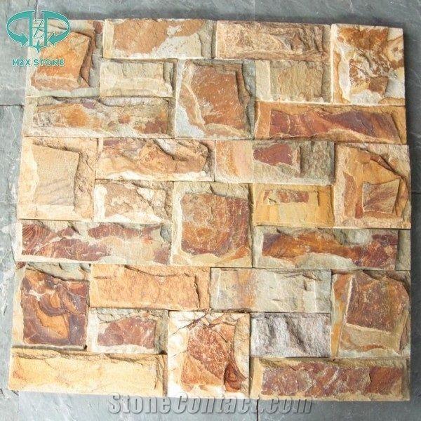 Rusty Slate Yellow Beige Split Face Slate Stacked Wall Veneer Stone