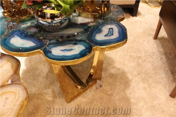 Blue Agate Table Design For Coffee Shop,Polished Blue Gemstone Samll Round  Tables