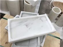 Carrara White Marble Dishes,Polished Marble Kitchen Plates,Marble Dining Accessories