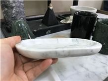 Carrara White Marble Kitchen Plates,Polished Marble Dining Accessories