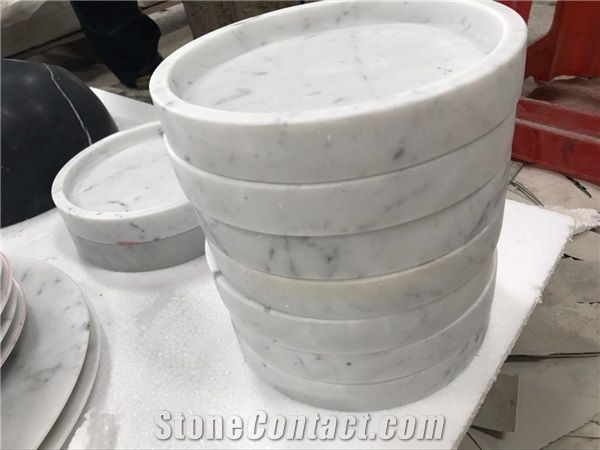 Merveilleux Carrara White Marble Plates,Polished Surface Finished Tea Sets,Marble  Kitchen Accessories