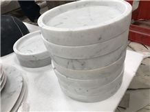 Carrara White Marble Plates,Polished Surface Finished Tea Sets,Marble Kitchen Accessories