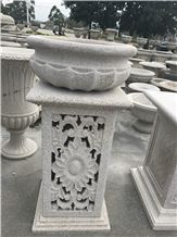 White Granite Flower Pot Sets,Ourdoor Garden Stone Planters,Handcarved Stone Landscaping Planters