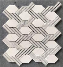 Milky White Hexagon Marble Mosaic Tile Polished Europe Style