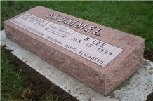 Indian Red Bevel Slant Monument Tombstone