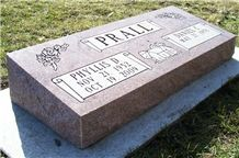 Indian Red Granite Bevels Monument Slant Headstone