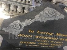 Dark Grey Rose Grave G654 Rose Shaped Gravestone/Monument Gild in Gold Leaf