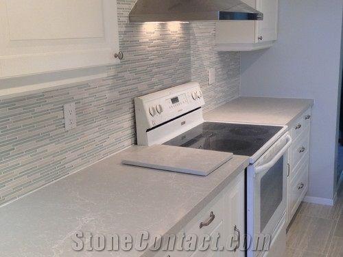 Caesar Stone Alpine Mist Quartz Slab Italian Marble Like