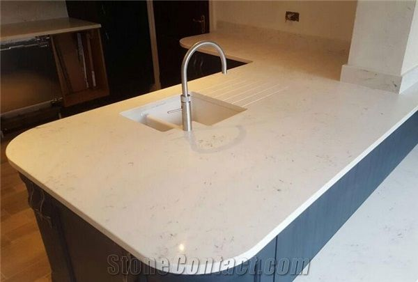 Construction Material In Excellent Quality Carrara Custom Quartz Stone Table Top Kitchen Cabinet Island