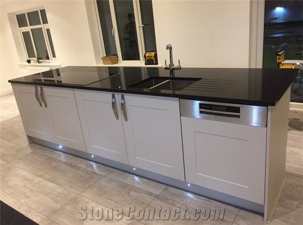 Crystal Black Sparkle Black Quartz Stone Worktop Kitchen