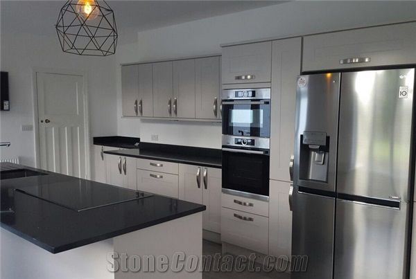 Crystal Black Sparkle Black Quartz Stone Worktop, Kitchen Countertop,  Fireplace With Eased Edging Widely Used In Residential And Commercial  Kitchen And Bath ...