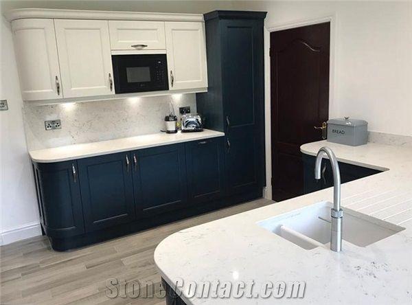 Top Quality Low Price Carrara White Quartz Countertops With Grey