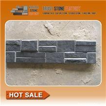 Black Split Face Slate Ledgestone Panels,Charcoal Grey Slate Stacked Stone,High Quality Carbon Black Slate Thin Stone Veneer,Natural Stone Wall Panels,Backsplash Culture Stone