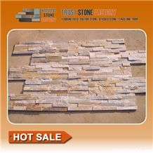 Cultural Stone Facade,Yellow Beige Golden Rainbow Sandstone Ledge Stone,Wall Covering,Stacked Stone,Fireplace Decorative,On Sale China
