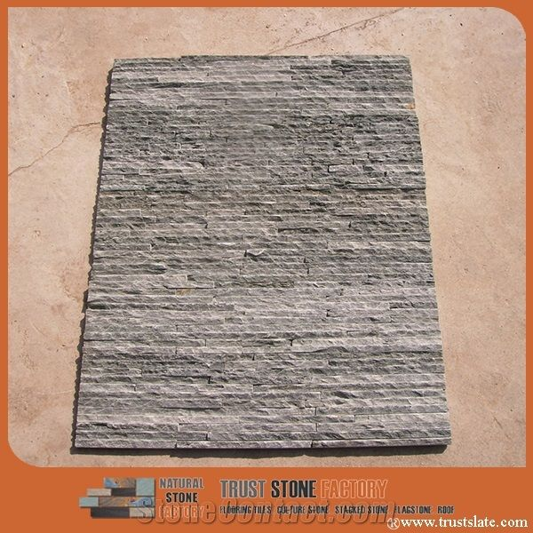 Culture Stone Gray Black Quartzite Ledge Wall Covering Stacked Fireplace Decorative