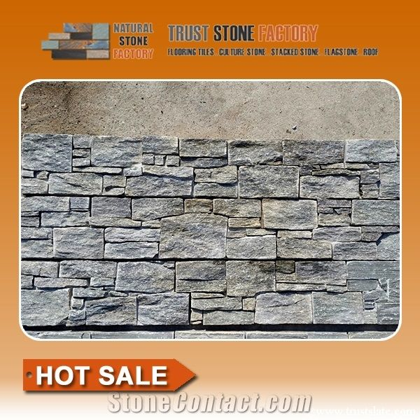 Grey Stacked Stone Backsplash Quartzite Faux Siding
