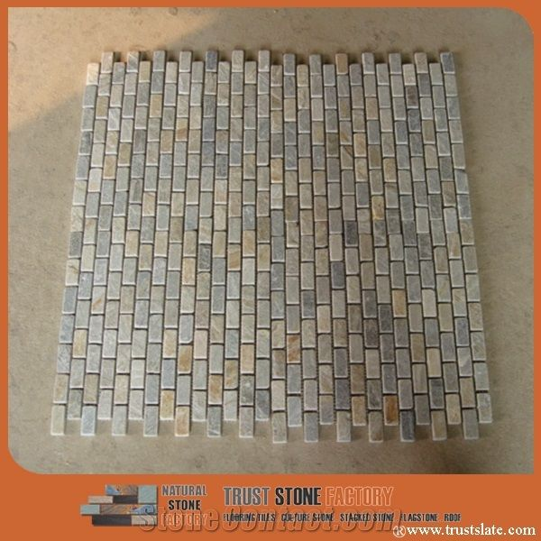 Yellow Grey Slim Mosaic Tiles Beige Thin Laminated Mosaic Bathroom Kitchen Wall Decorative Stone From China Stonecontact Com