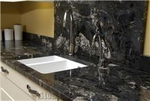 Black Forest Marble, Black Fantasy Marble Kitchen Countertops, Polished Marble Work Top