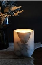 Carrara White Marble Home Candle Holder