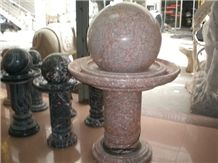 China Cheap Granite Floating,Red Granite Ball Fountains, Granito Rolling Sphere Garden Fountains,Water Features, Exterior Fountains Natural Stone Decoration