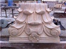 Granite Pesteal Columns,Beige Granite Architectural Roman Columns, Column Tops and Base