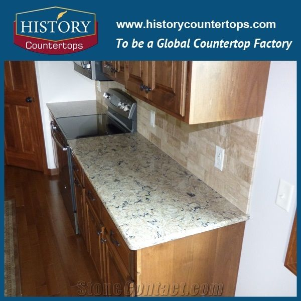 Bradshaw Quartz Countertops Polished Surface With Laminated Bullnose Edge Artificial Stone Kitchen Worktops Island Tops For Home Designs In Multi Family