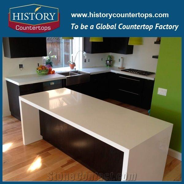 Pure White Artificial Quartz Stone Kitchen Countertops ...