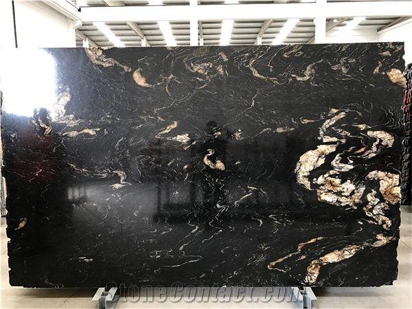 Brazil Black Titanium Granite, Black Cosmics Granite, Black and Gold