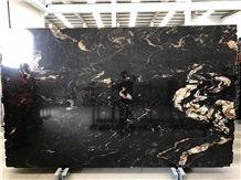 Brazil Black Titanium Granite, Black Cosmics Granite, Black and Gold Titanium Granite