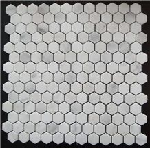 China Oriental Eastern White Marble Mosaic Tile with Polished/Tumbled/Split Surface Hexagon Shape for Indoor/Outdoor Floor Paving Wall Cladding Bathroom Washing Room Swimming Pool