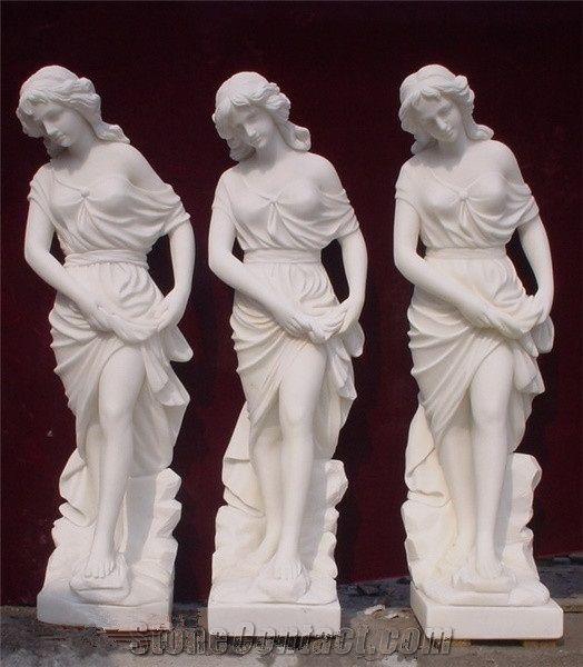 China Pure White Marble Western Style Elegant Women Statue Hand