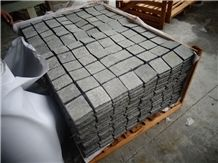 G684 China Black Granite with Natural Split Flamed Tumbled Cube Stone for Exterior Floor Paving Pavement Driveway Walkway Stepping Garden Back Netting Fan Shape Cobble Mosaic Pattern Cubestone