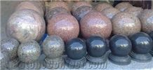 Granite Stone Balls Of White/Red/Black/Grey/Pink/Green/Blue Colors with Finishing Of Polished Antique Bush-Hammered Machine Cut Natural Cleft/Split for Landscape Ornament