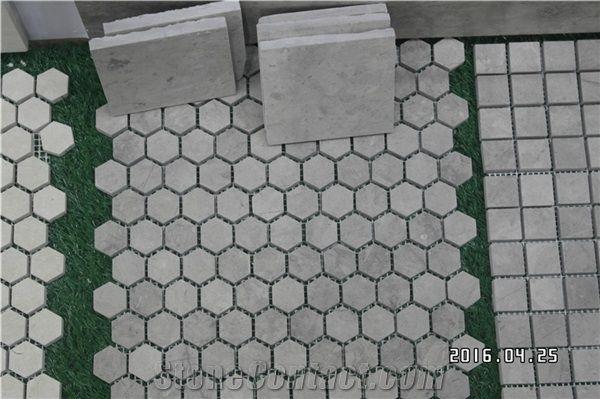 Grey Limestone Mosaic Tile Polished