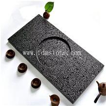 Black Basalt Stone Antique Tea Tray Table, Stone Carving Tea Serving Tray