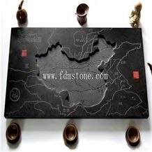 Black Chinese Ancient Style Granite Indoor Carve Teatray