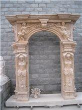 Beige Travertine Door Surround with Hand Carving