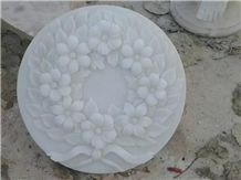 Hand Carved White Jade Marble Small Relief
