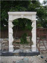 White Marble Door Surround with Statue Sculpture