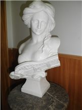 White Marble Lady Bust, Handcarved Sculptures