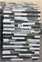 White Quartzite Mixed Black Quartzite and Green Quartzite Stacked Stone,Quartzite Stone Cladding,Natural Stone Wall Panels,Quartzite Thin Stone Veneer,Quartzite Culture Stone,Quartzite Ledgestone