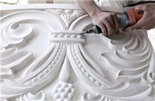 Jerusalem Royal White Stone Hand Carved Reliefs, Ornaments