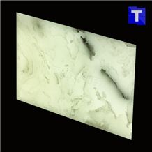 Artificial Marble Bianco Venato Carrara White Stone Slabs Panel Walling Tiles,Engineered Stone Solid Surface Translucent Backlit Sheet for Kitchen Countertops