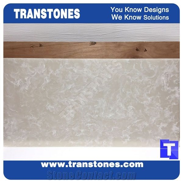 Artificial Marble Silver White Faux Slabs For Wall Panel Celing Floor Covering Solid Surface Engineered Stone Gl Resin Conference Table Desk