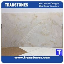 Cream Artificial Marble Silver Beige Faux Quartz Slabs for Wall Panel Ceiling Floor Covering,Solid Surface Engineered Stone Glass Resin Stone Slab for Reception Desk,Club Bar Top